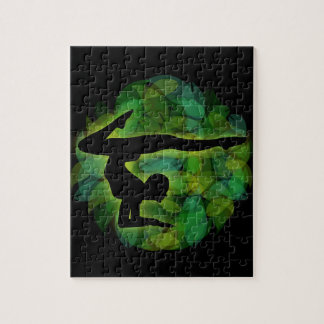 Silhouette of a person doing gymnastics or yoga puzzle