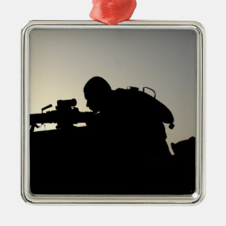 Silhouette of a Squad Automatic Weapon gunner Christmas Ornament
