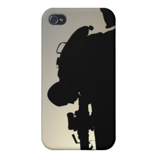 Silhouette of a Squad Automatic Weapon gunner iPhone 4/4S Cases