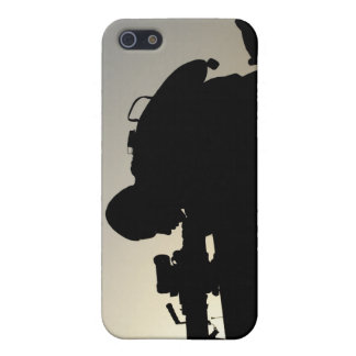 Silhouette of a Squad Automatic Weapon gunner iPhone 5 Case
