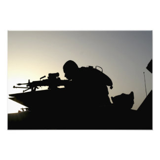 Silhouette of a Squad Automatic Weapon gunner Photo Print