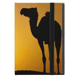 Silhouette of a wild camel at sunset iPad mini case