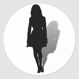 Silhouette of a Woman Classic Round Sticker