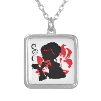 Silhouette of a Young female holding hot coffee Square Pendant Necklace