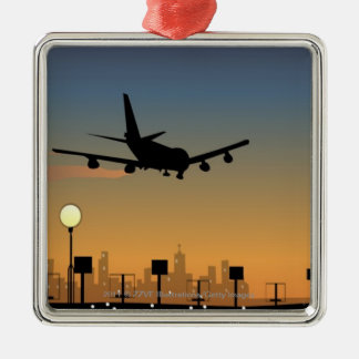 Silhouette of an airplane in flight christmas ornament