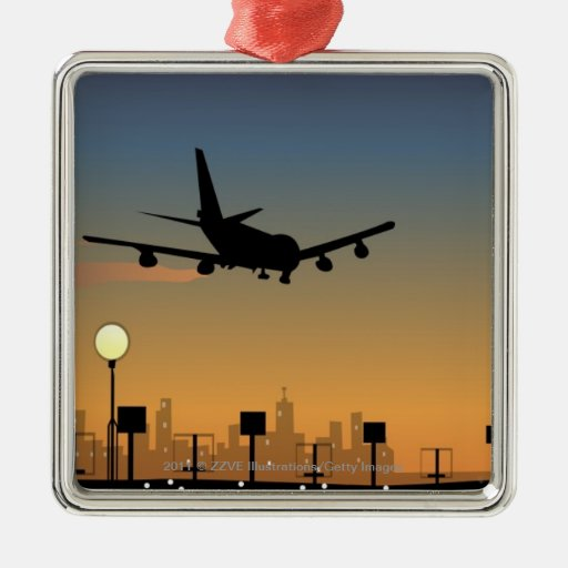 Silhouette of an airplane in flight ornaments