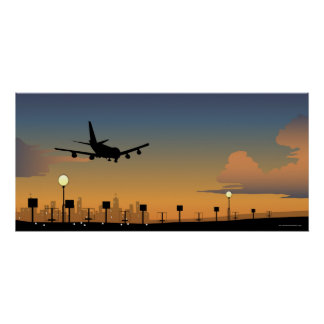 Silhouette of an airplane in flight poster