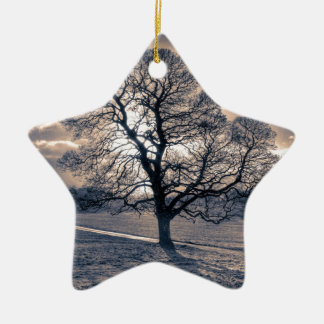Silhouette of an old Oak tree Christmas Ornament