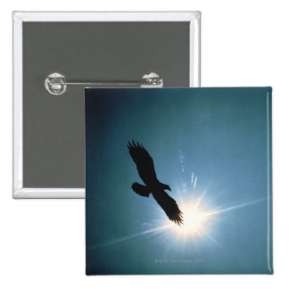 Silhouette of bald eagle flying in sky 15 cm square badge