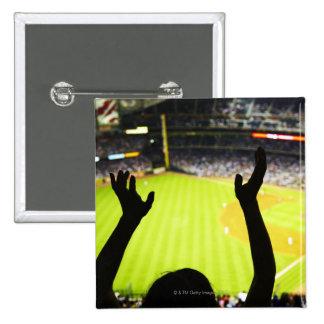 Silhouette of Baseball fan waving hands in the Pin