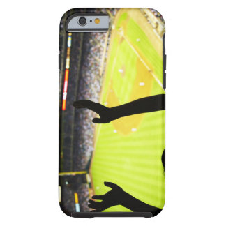 Silhouette of Baseball fan waving hands in the Tough iPhone 6 Case