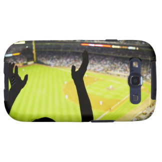 Silhouette of Baseball fan waving hands in the Samsung Galaxy S3 Case