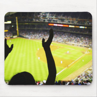 Silhouette of Baseball fan waving hands in the Mouse Mat