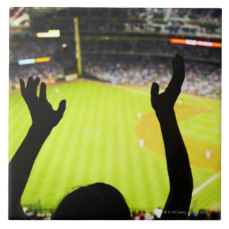 Silhouette of Baseball fan waving hands in the Large Square Tile