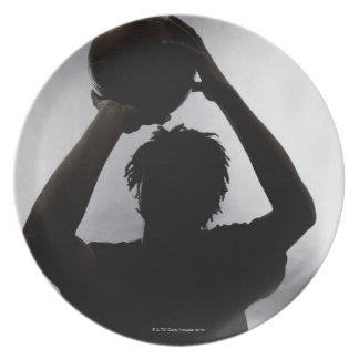 Silhouette of basketball player party plates