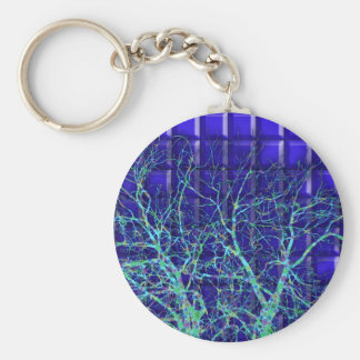 Silhouette of branches on a background of red tile basic round button key ring