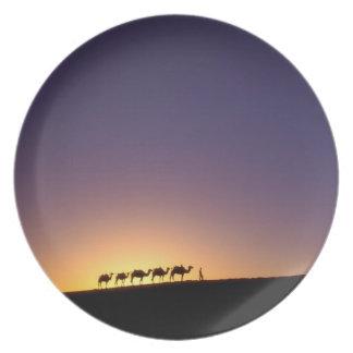 Silhouette of camel caravan on the desert at plates