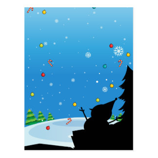 Silhouette of Christmas with snowman Postcard