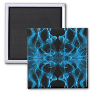 Silhouette of Colored Smoke Abstract blue black Square Magnet