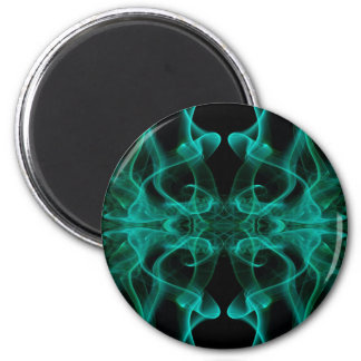 Silhouette of Colored Smoke Abstract green black 6 Cm Round Magnet