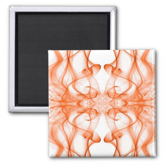Silhouette of Colored Smoke Abstract orange Square Magnet