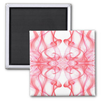 Silhouette of Colored Smoke Abstract red on white Square Magnet