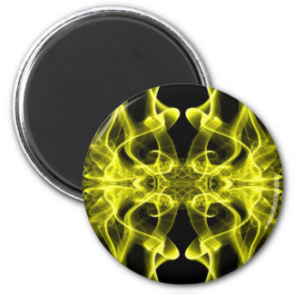 Silhouette of Colored Smoke Abstract yellow 6 Cm Round Magnet