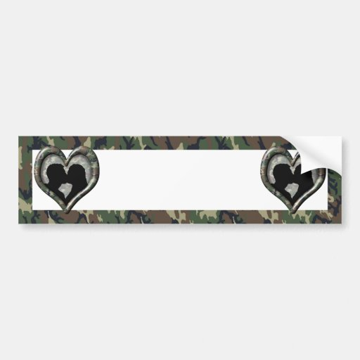 Silhouette of Couple Kissing (Camoflauge) Bumper Stickers