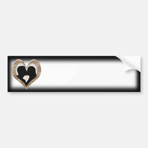 Silhouette of Couple Kissing (Camouflage Heart) Bumper Stickers