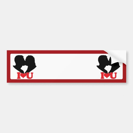 """Silhouette of Couple Kissing With """"I♥U"""" Bumper Sticker"""