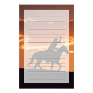 Silhouette of cowboy on horseback near Fairplay, Stationery Paper