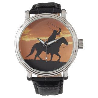 Silhouette of cowboy on horseback near Fairplay, Watch