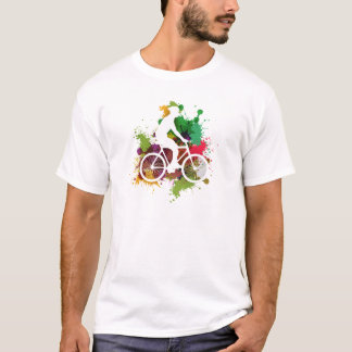 Silhouette of Cyclist on Multi Paint Splatter T-Shirt