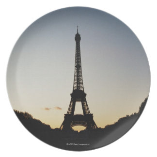 Silhouette of Eiffel Tower Party Plate