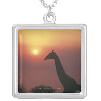 Silhouette of Giraffe (Giraffa Camelopardalis) Silver Plated Necklace