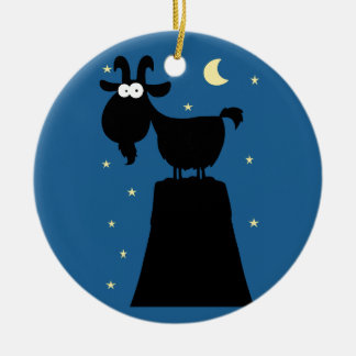 Silhouette of Goat on Mountain Christmas Ornament