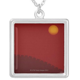 Silhouette of Great Wall of China Silver Plated Necklace