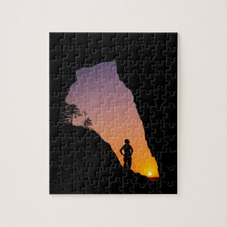 Silhouette of hiker, Point of the Arches, Jigsaw Puzzle