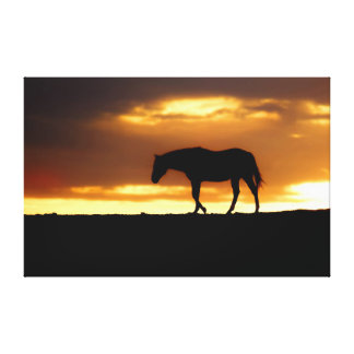 Silhouette of Horse at Sunrise Gallery Wrap Canvas