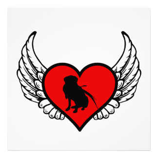 Silhouette of Hunting Retriever on winged heart Photo Art