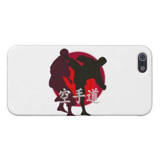 Silhouette of Karate fight, red circle background. iPhone 5/5S Covers