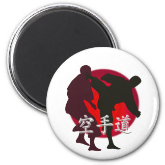 Silhouette of Karate fight, red circle background. Magnet