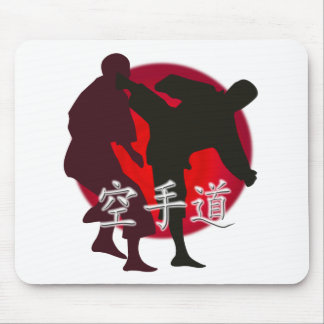 Silhouette of Karate fight, red circle background. Mouse Mat