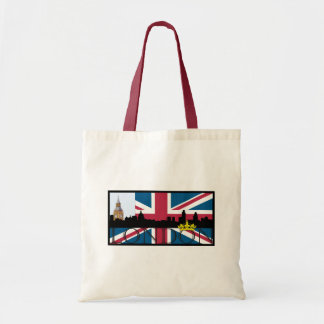 Silhouette of London and Union Jack Tote Bag