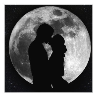 Silhouette of lovers in a full moon at night photograph