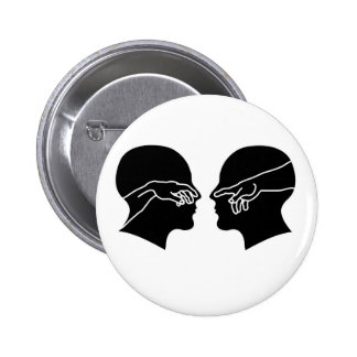 Silhouette of male faces with hands 6 cm round badge