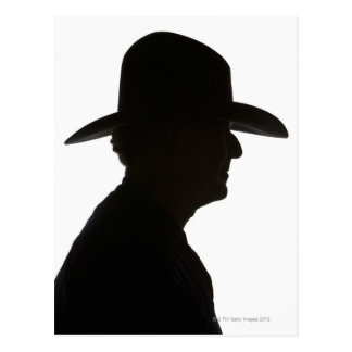 Silhouette of man in profile wearing traditional postcard