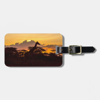 Silhouette of Masai Giraffe Luggage Tag