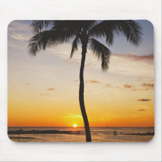 Silhouette of one Palm Tree by a Red Orange Sunset Mouse Mat