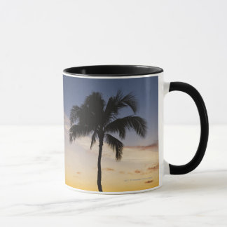 Silhouette of one Palm Tree by a Red Orange Sunset Mug